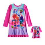 Girls 4-8 DreamWorks Trolls Poppy & Branch Knee Length Nightgown & Doll Nightgown