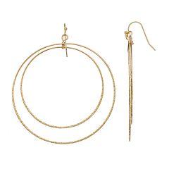 LC Lauren Conrad Gold Tone Nickel Free Double Hoop Drop Earrings