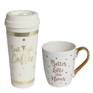 "Laura Ashley Lifestyles ""But First, Coffee"" Mug & Coffee Cup 2-piece Set"