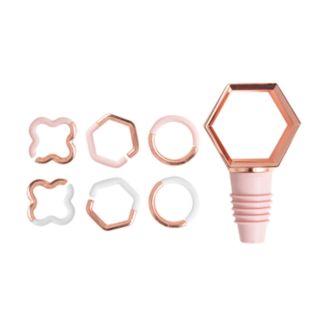 Laura Ashley Lifestyles Geometric Wine Glass Charm & Bottle Topper 7-piece Set