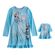 Disney's Frozen Elsa & Olaf Girls 4-8 Dorm Nightgown & Doll Gown