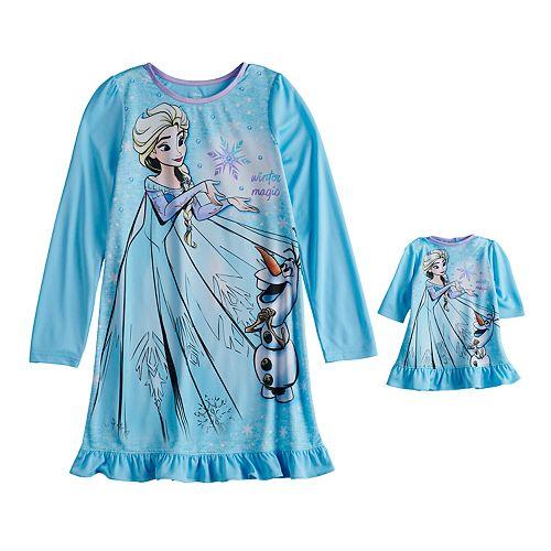 Disney's Frozen Elsa & Olaf Girls 4-8 Dorm Nightgown & Doll Gown
