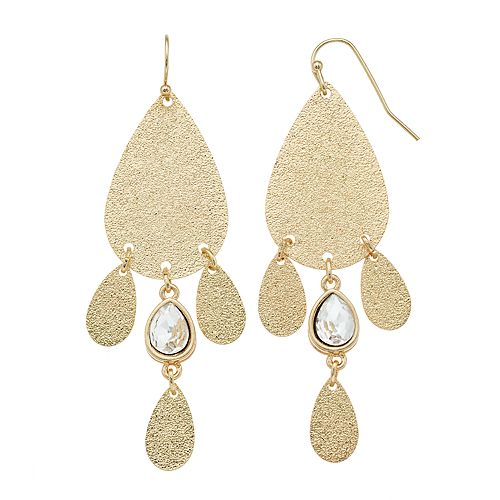 LC Lauren Conrad Shimmery Nickel Free Chandelier Earrings