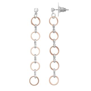LC Lauren Conrad Two Tone Nickel Free Circle Linear Drop Earrings
