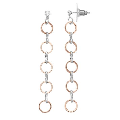 LC Lauren Conrad Two Tone Nickel Free Circle Linear Drop Earrings