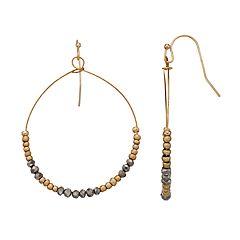 LC Lauren Conrad Two Tone Nickel Free Beaded Hoop Drop Earrings