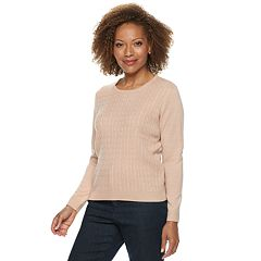 Petite Napa Valley Cable-Knit Crewneck Sweater