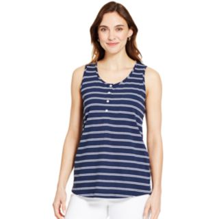 Women's IZOD Striped Henley Tank