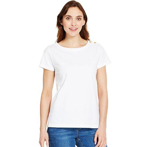 Women's IZOD Button-Shoulder Solid Tee