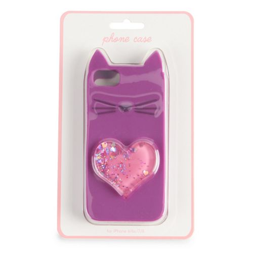 Glitter Heart & Cat Phone Case