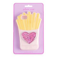 Glitter Heart & French Fries Phone Case