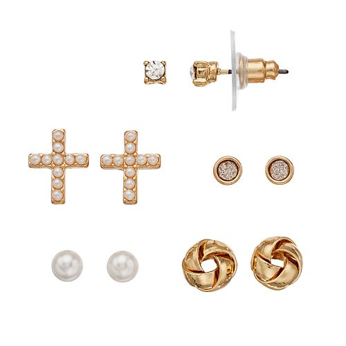 LC Lauren Conrad Simulated Pearl Nickel Free Cross & Knot Stud Earring Set