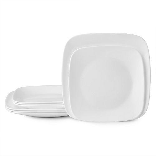 Corelle Boutique Square Vivid White 8-piece Lunch & Dinner Plate Set