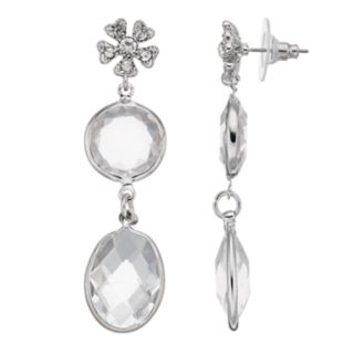 LC Lauren Conrad Simulated Crystal Flower Nickel Free Drop Earrings