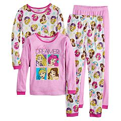 Disney Princess Girls 4-10 Rapanzel, Ariel, Cinderella & Belle Tops & Bottoms Pajama Set