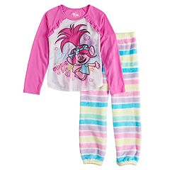Girls 4-8 DreamWorks Trolls Poppy Top & Striped Plush Bottoms Pajama Set