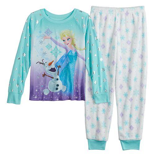 Disney's Frozen Girls' 4-8 Elsa & Olaf Top & Plush Bottoms Pajama Set