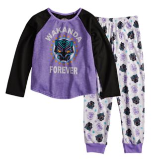 "Girls 6-12 Marvel Black Panther ""Wakanda Forever"" Top & Bottoms Pajama Set"