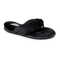 Women's Dearfoams Faux Fur Thong Slippers