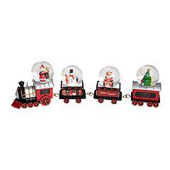 FAO Schwarz Santa & Snowman Train Snow Globe 4-piece Set