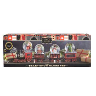 FAO Schwarz Santa & Snowman Train Snow Globe 4-piece Set