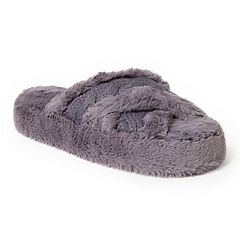 Women's Dearfoams Fluffy Criss Cross Slide Slippers