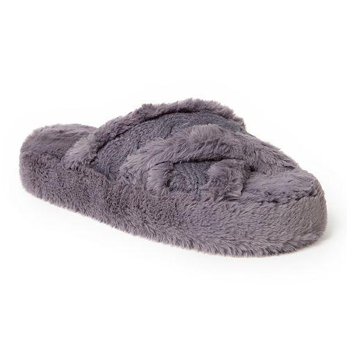 Women's Dearfoams Fluffy Criss Cross Slide Slippers