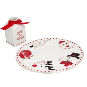 "FAO Schwarz ""Milk For Santa"" Christmas Plate & Milk Jug 2-piece Set"