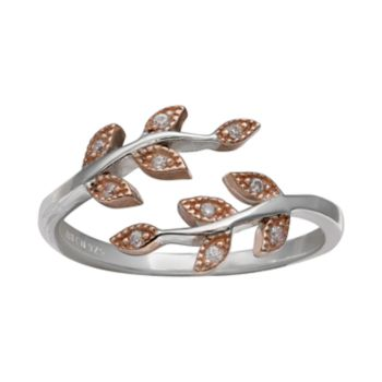 PRIMROSE Two Tone Sterling Silver Cubic Zirconia Vine Ring