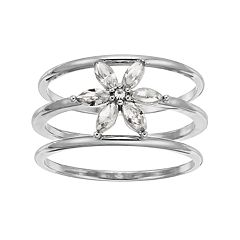 LC Lauren Conrad Simulated Crystal Flower Triple Ring