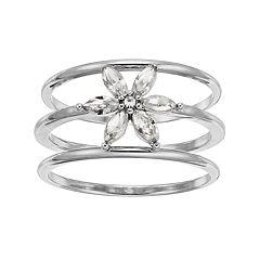 LC Lauren Conrad Simulated Crystal Flower Triple Ring