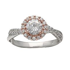 PRIMROSE Two Tone Sterling Silver Cubic Zirconia Round Crossover Ring