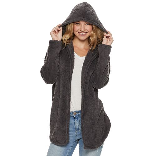 Juniors' Pink Republic Soft Hooded Cardigan