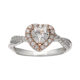 PRIMROSE Two Tone Sterling Silver Cubic Zirconia Heart Ring