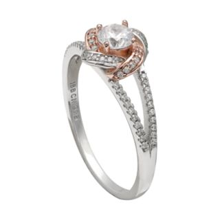 PRIMROSE Two Tone Sterling Silver Cubic Zirconia Love Knot Ring