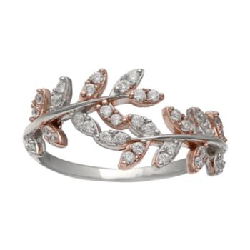 PRIMROSE Two Tone Sterling Silver Cubic Zirconia Vine Bypass Ring