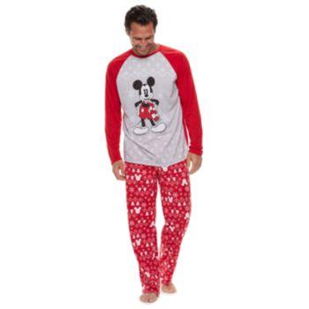 Disney's Mickey Mouse Men's Mickey Sleep Sleep Top & Fairisle Microfleece Bottoms Pajamas Set by Jammies For Your Families