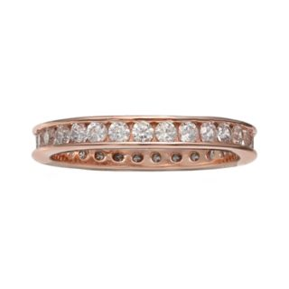 PRIMROSE 18k Rose Gold Over Silver Cubic Zirconia Eternity Band