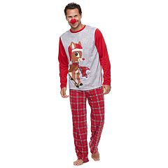 Men's Jammies For Your Families Rudolph the Red-Nosed Reindeer Top & Plaid Bottoms Pajama Set with Red Nose Accessory