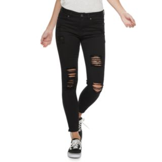 Juniors' Almost Famous Mid-Rise Destructed Ankle Skinny Jeans