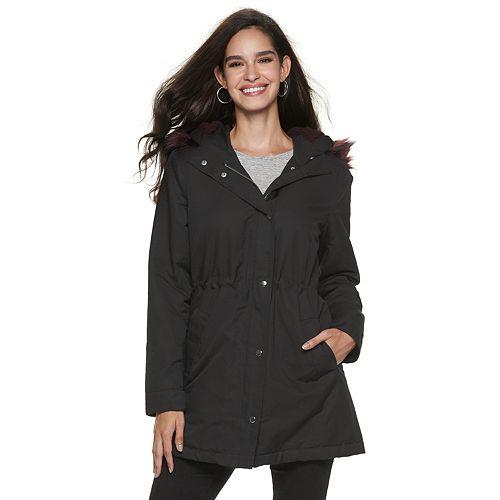 Women's Jennifer Lopez Faux-Fur Hooded Twill Anorak Jacket