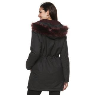 Women's Jennifer Lopez Faux-Fur Hooded Twill Anorak Jacket