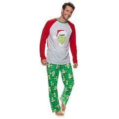 Men's Jammies For Your Families How the Grinch Stole Christmas Grinch 'Merry Whatever' Top & Microfleece Bottoms Pajama Set