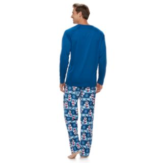 "Men's Jammies For Your Families Frosty the Snowman ""Feeling a Little Frosty"" Top & Microfleece Bottoms Pajama Set"