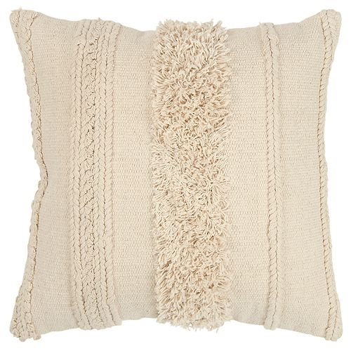 Rizzy Home Beige Vertical Stripe Transitional Throw Pillow