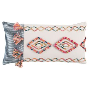 Rizzy Home Pink Geometric Transitional Oblong Throw Pillow