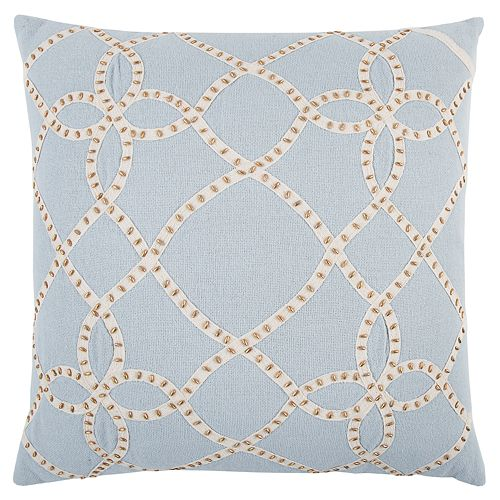 Rizzy Home Blue Trellis Transitional Throw Pillow