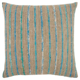 Rizzy Home Teal Textured Stripe Transitional Throw Pillow