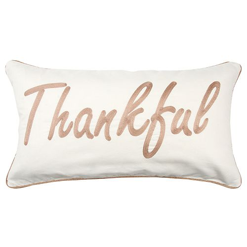 "Rizzy Home Brown ""Thankful"" Contemporary Oblong Throw Pillow"