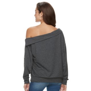 Women's Jennifer Lopez Embellished One-Shoulder Sweatshirt
